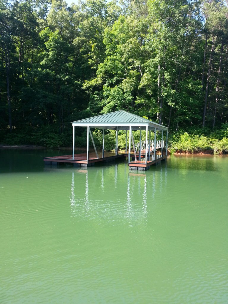Aluminum Single Slip Floating Dock with IPE decking and Hip roof