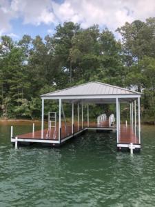 Lake Keowee Single Slip Aluminum Custom Dock with Swim Ladder and Walkway