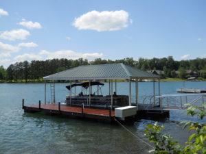 Lake Oconee Aluminum Walkway and cantilevered dock box.