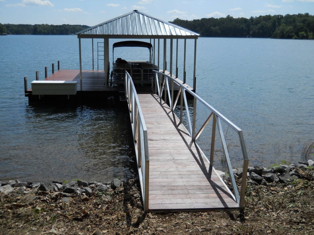 Lake Oconee Aluminum Walkway and cantilevered dock box with IPE decking