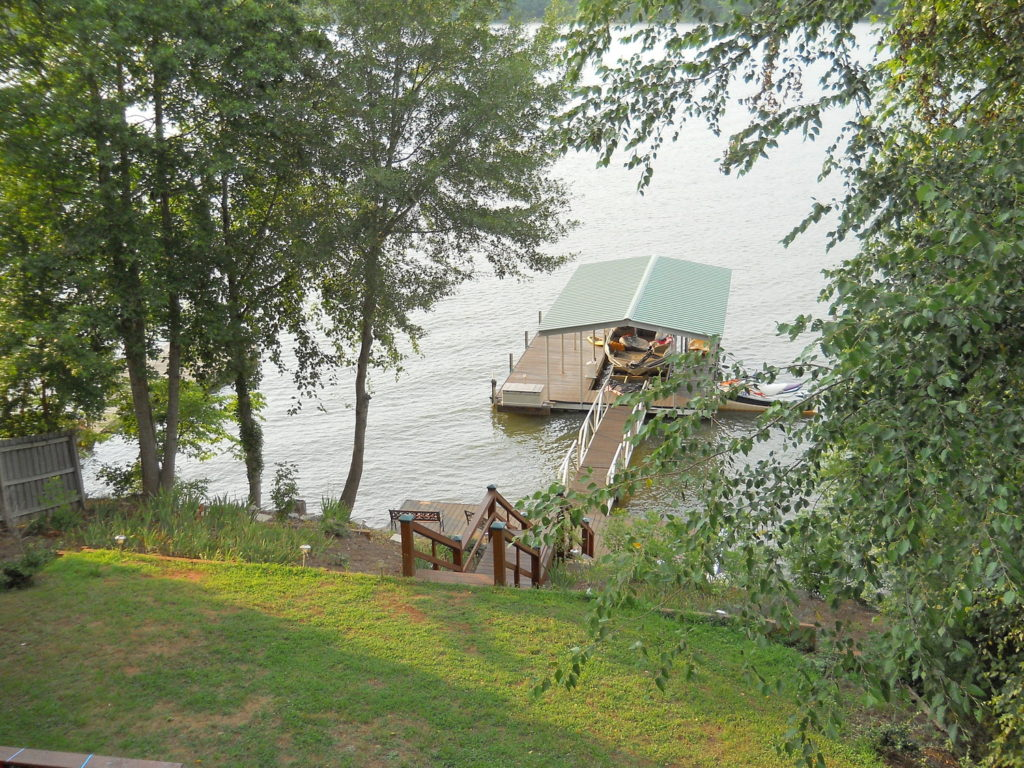 Aluminum Dock with Wide side left, IPE decking, Gable roof, and 30' walkway on Lake Greenwood