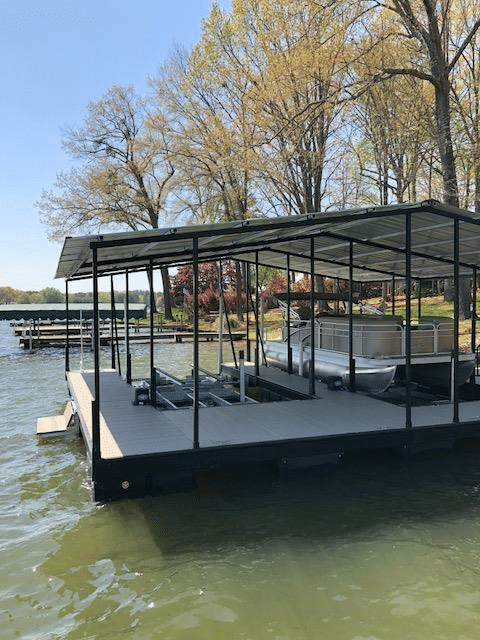 This floating dock has a removable connector, currently it fits a 20' boatlift but that can be upgraded to a 24' lift.