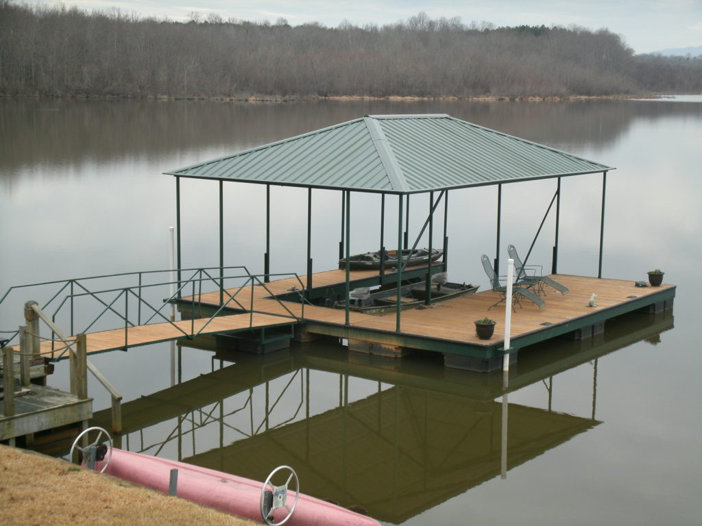 Lake Bowen Steel Floating Green Dock Wide Side Right with IPE decking and Green Hip Roof