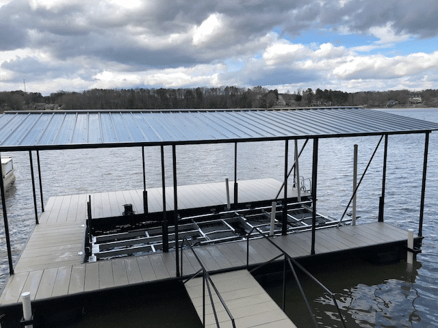 steel floating dock 24' x 28' wide side to the lake