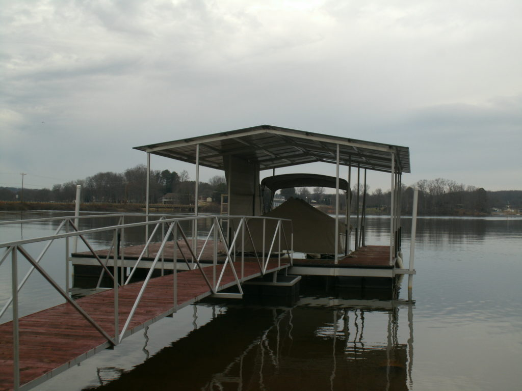 Lake Greenwood Steel Floating Dock with IPE decking and Gable Roof.