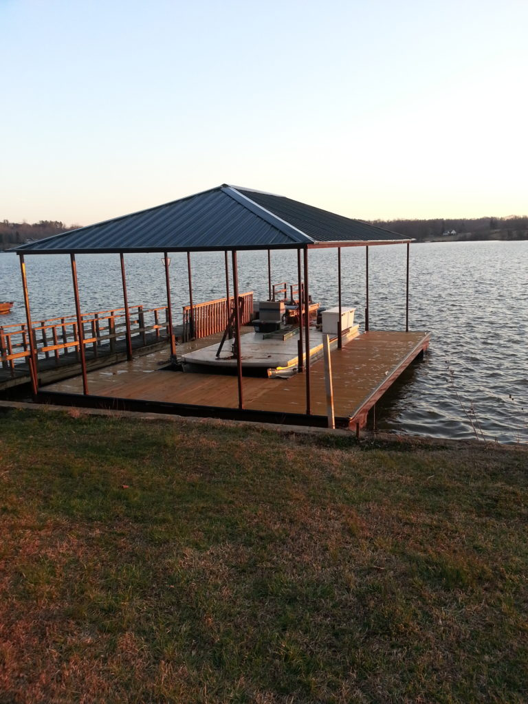 Steel Floating Deck with IPE Decking and Black Hip Roof