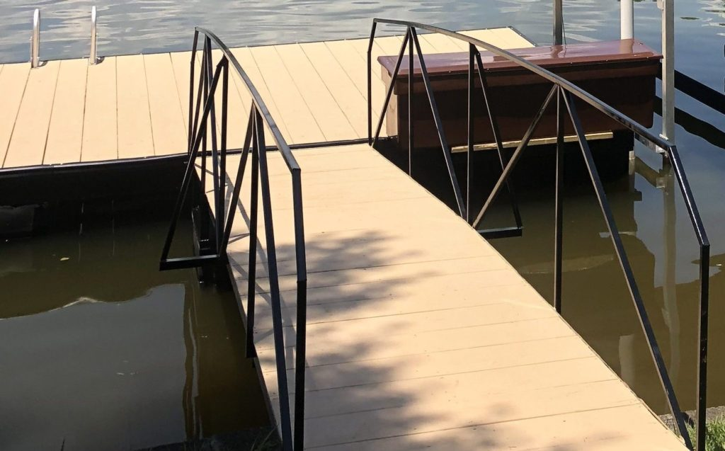 Steel Walkway with Brown Dock Box