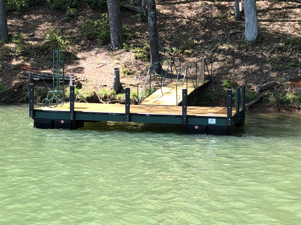 Steel 10 x 18 dock. Adger green with 2×8 Pressure treated boards and 20′ walkway.